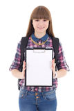 Cute teenage girl with blank clipboard isolated on white Stock Image