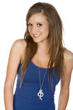 Cute Teenage Girl in Blue Vest. Shot of a Cute Teenage Girl in Blue Vest Royalty Free Stock Photo