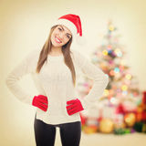 Cute teenage girl celebrating New Year at home Stock Images