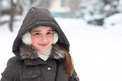 Cute teenage girl on cold winter day Royalty Free Stock Image