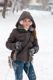 Cute teenage girl on cold winter day Stock Photos