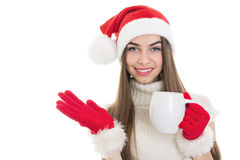 Cute teenage girl drinking hot beverage Royalty Free Stock Photos