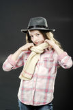 Cute teenage girl with father's hat  close-up portrait Stock Images