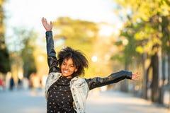 Cute Teenage Girl Having Fun Outdoors royalty free stock photo