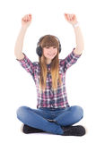 Cute teenage girl  listening music and dancing Stock Images