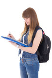 Cute teenage girl with notebook and backpack isolated on white Royalty Free Stock Photography