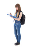 Cute teenage girl with notebook isolated on white Royalty Free Stock Photos