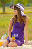 Cute teenage girl on the picnic Royalty Free Stock Photography
