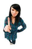 Cute teenage girl showing finger royalty free stock photos
