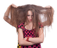 Cute teenage girl with sloppy tangled hair Royalty Free Stock Image