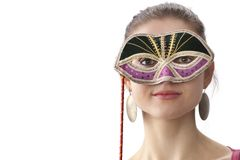 Cute teenage girl with a Venitian carnival mask Stock Photo