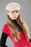 Cute teenage girl wearing a beret Royalty Free Stock Photos