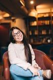 Cute teenage girl wearing glasses Stock Images