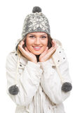 Cute teenage girl wearing winter clothes posing Stock Photography