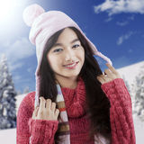 Cute teenage girl in winter clothes Royalty Free Stock Photo