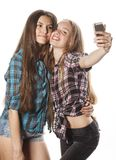 Cute teenage girls making selfie isolated Royalty Free Stock Photo
