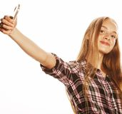 Cute teenage girls making selfie isolated Royalty Free Stock Photography