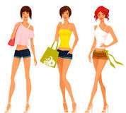 Cute teenage girls in summer clothes Stock Images