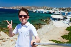 Cute teenage tourist making selfie Stock Photography