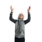 Cute teenager boy in gray sweater over white isolated background Stock Photo