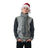 Cute teenager boy in gray sweater over white isolated background Royalty Free Stock Photo