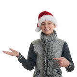 Cute teenager boy in gray sweater over white isolated background Royalty Free Stock Photos