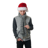 Cute teenager boy in gray sweater over white isolated background Stock Images