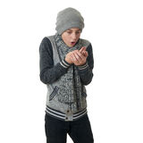 Cute teenager boy in gray sweater over white isolated background Royalty Free Stock Photography