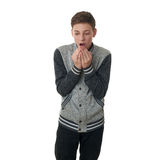 Cute teenager boy in gray sweater over white isolated background Stock Image