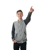 Cute teenager boy in gray sweater over white isolated background Stock Photos
