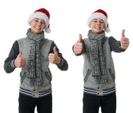 Cute teenager boy in gray sweater over white isolated background. Set of cute teenager boy in gray sweater and christmas hat showing thumb up sign over white stock photo