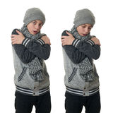 Cute teenager boy in gray sweater over white isolated background Royalty Free Stock Images