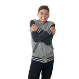 Cute teenager boy in gray sweater over white isolated background Stock Photography
