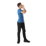 Cute teenager boy over white  background Royalty Free Stock Images