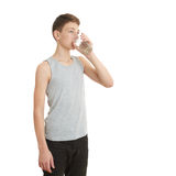 Cute teenager boy over white  background Royalty Free Stock Photography