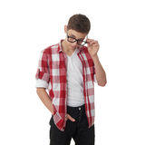 Cute teenager boy over white  background Royalty Free Stock Image
