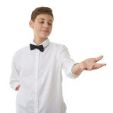 Cute teenager boy over white  background Stock Images