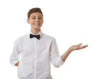 Cute teenager boy over white  background Royalty Free Stock Photo