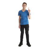 Cute teenager boy over white isolated background. Cute teenager boy in blue T-shirt standing and pointing up over white isolated background full body stock photo