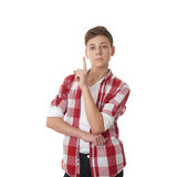 Cute teenager boy over white isolated background Stock Photography