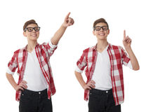 Cute teenager boy over white isolated background Stock Images