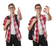 Cute teenager boy over white isolated background Royalty Free Stock Photography