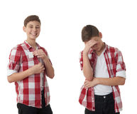 Cute teenager boy over white isolated background Royalty Free Stock Photos