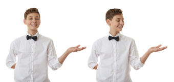 Cute teenager boy over white isolated background Stock Image