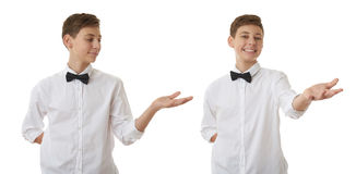 Cute teenager boy over white isolated background Royalty Free Stock Images