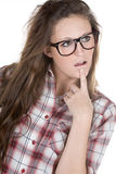 Cute Teenager Geek against White Stock Photography
