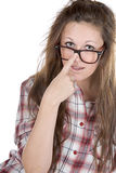 Cute Teenager Geek against White Stock Images