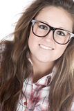 Cute Teenager Geek against White Royalty Free Stock Photos