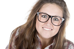 Cute Teenager Geek against White Royalty Free Stock Photo