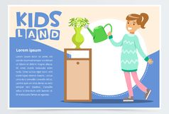 Cute teenager girl character watering flowers in vase. Kid helping with housekeeping and doing house cleanup. Flat style. Cute teenager girl character watering Royalty Free Stock Image